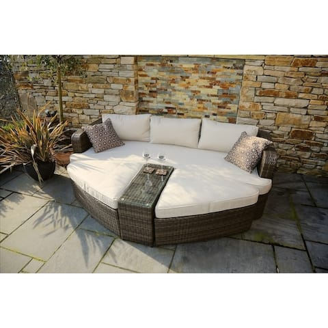 Direct Wicker Sandoval Brown PVC Wicker and Aluminum 4-piece Daybed