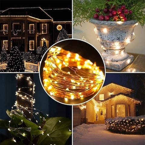 200 LED String Lights 72ft Solar Powered Wired Lights Indoor Outdoor Lighting Decorative Light for Home Garden Party Dormitory