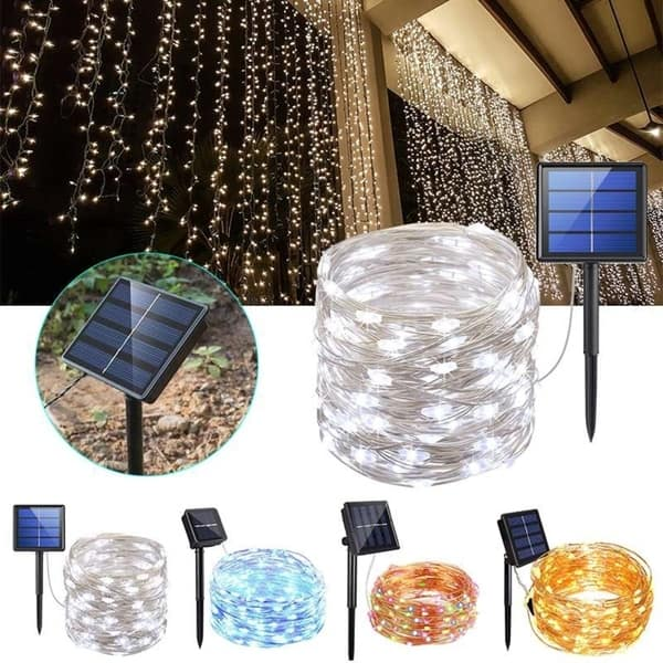 200 Led Solar String Lights 8 Modes Solar Powered Wire Fairy Lights Waterproof Indoor Outdoor Lighting 72ft Decorative Light Overstock 29009555