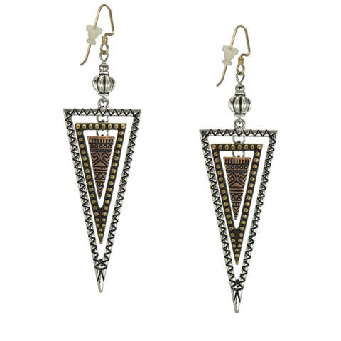 Bohemian Style Long Three Tone Triangle Earrings - silver-gold-copper