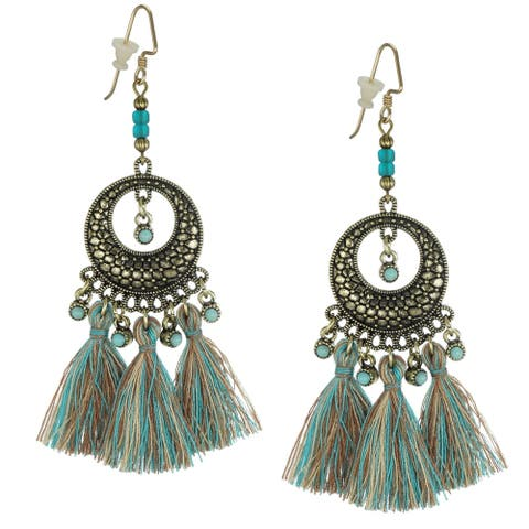 Bohemian Round Antique Gold & Turquoise Beaded Tassel Earrings - gold-teal