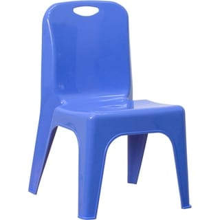 Offex Blue Plastic Stackable School Chair with Carrying Handle and 11'' Seat Height