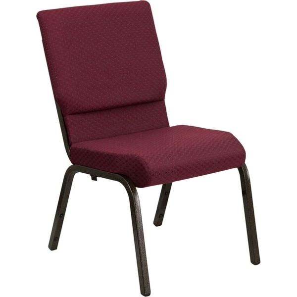 "Offex 18.5""W Burgundy Patterned Fabric Stacking Church Chair with 4.25"" Thick Seat - Gold Vein Frame"