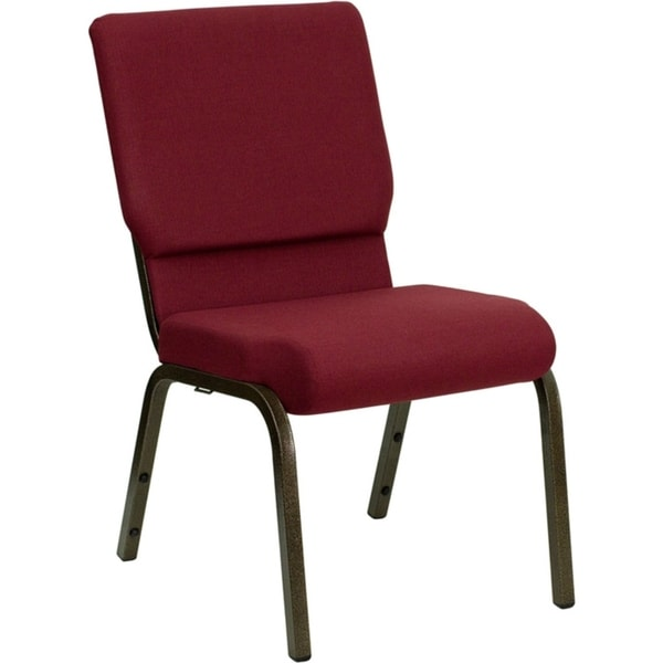 "Offex 18.5""W Burgundy Fabric Stacking Church Chair with 4.25"" Thick Seat - Gold Vein Frame"