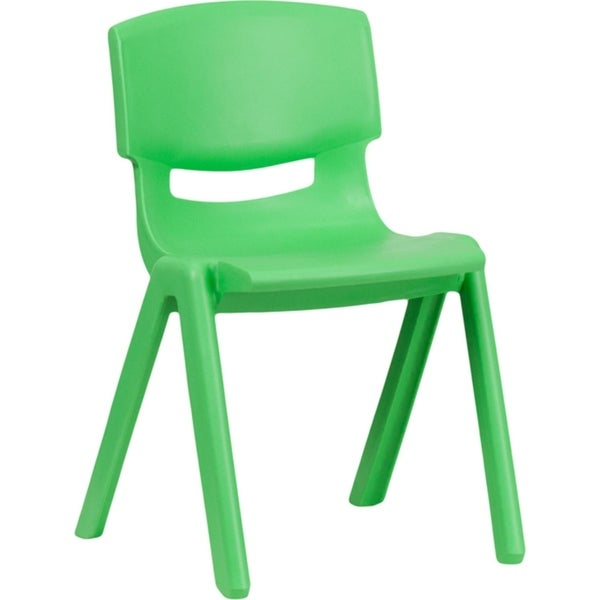 Offex Green Plastic Stackable School Chair with 13.25'' Seat Height
