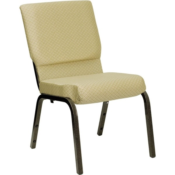 """Offex 18.5""""W Beige Patterned Fabric Stacking Church Chair with 4.25"""" Thick Seat - Gold Vein Frame"""