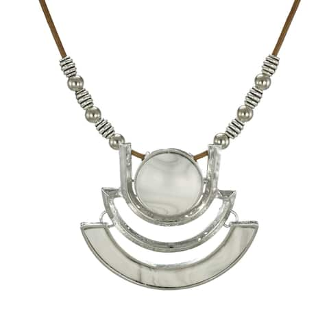 Large Faux Marble Silver Pendant & Long Leather Necklace