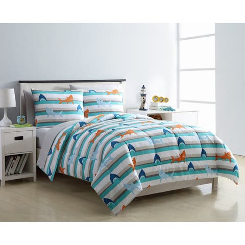 VCNY Home Shark Day Blue Stripe Bed-in-a-Bag Comforter Set