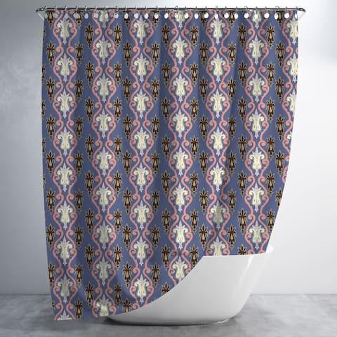 Vastra Paisley Flower Luxury Shower Curtain by Amrita Sen