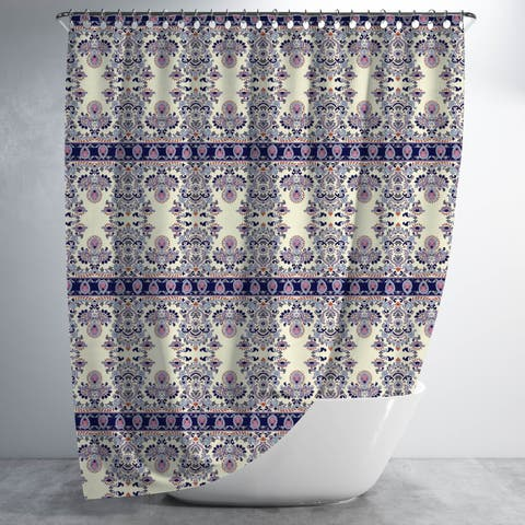 Uptight Rows of Paisley Luxury Shower Curtain by Amrita Sen