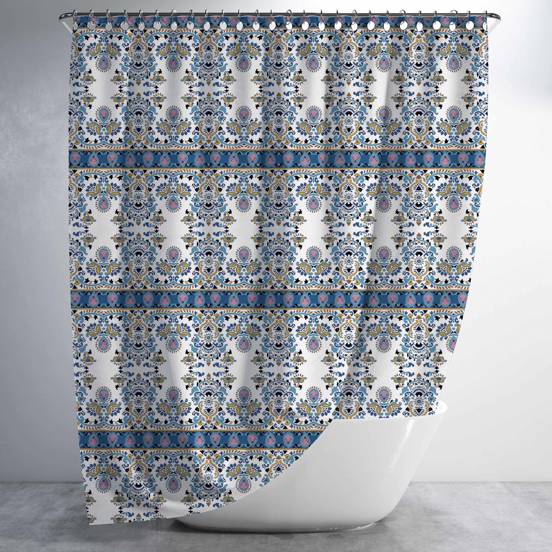 Uptight Rows Of Paisley Luxury Shower Curtain By Amrita Sen