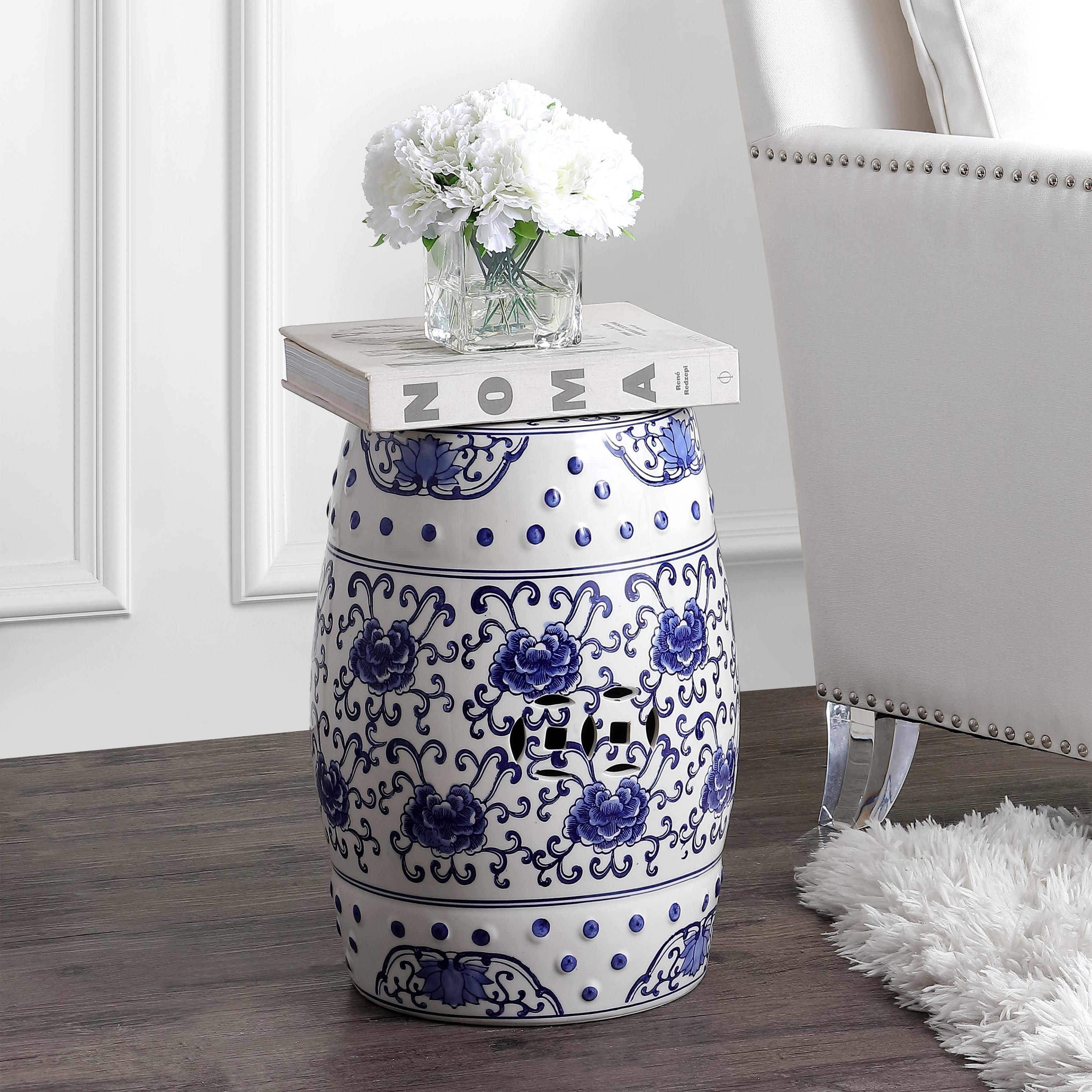 Lotus Flower 17 8 Chinoiserie Ceramic Drum Garden Stool Blue White Overstock 29010805