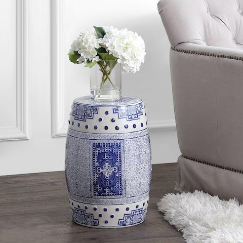 "Acanthus 17.8"" Chinoiserie Ceramic Drum Garden Stool, Blue/White"