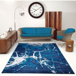 Porch & Den Westway Blue Grey Soft Abstract Indoor/ Ourdoor Area Rug