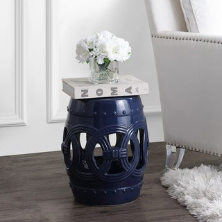 """Lucky Coins 16"""" Chinese Ceramic Drum Garden Stool, Navy by JONATHAN  Y"""