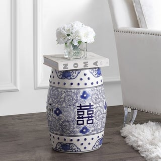 "Double Happiness 18"" Chinoiserie Ceramic Drum Garden Stool, Blue/White"