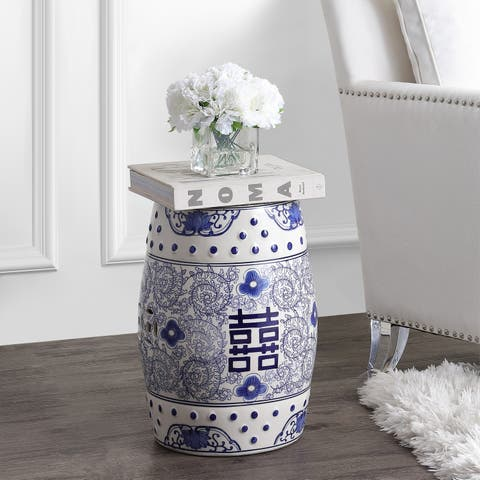 """Double Happiness 18"""" Chinoiserie Ceramic Drum Garden Stool, Blue/White"""
