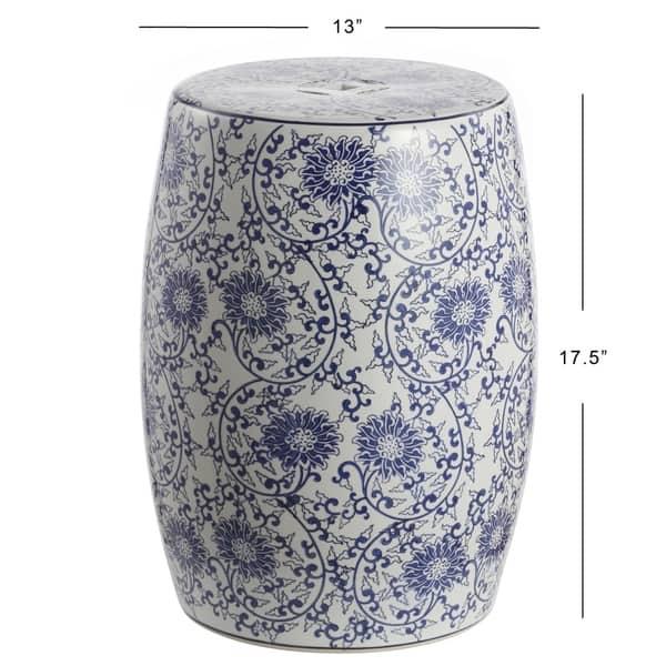 Lotus Blossom 17 5 Chinoiserie Ceramic Drum Garden Stool Blue White Overstock 29010816