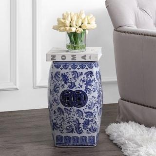 "Floral Vine 18.5"" Chinoiserie Ceramice Square Garden Stool, Blue/White"