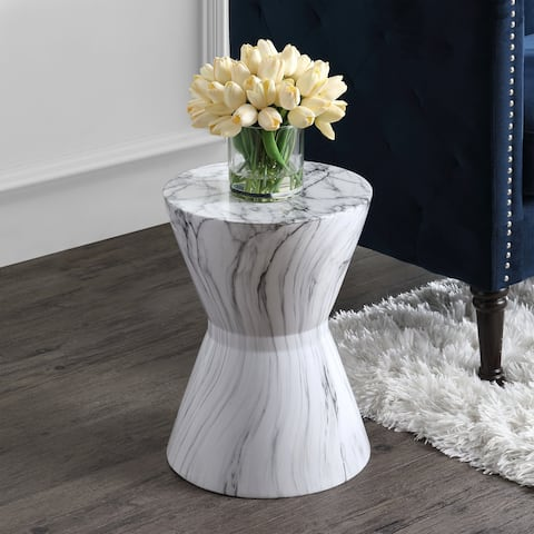 "African Drum 17.3"" White Marble Finish Ceramic Garden Stool by"
