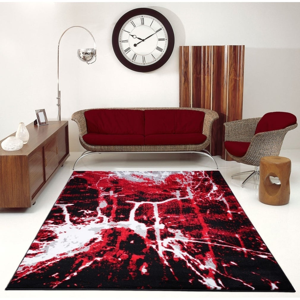 Porch Den Westway Red Black Abstract Area Rug On Sale Overstock 29010821 2 7 X 9 10 80cm X 300cm