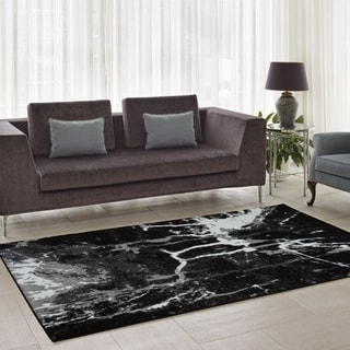 Porch & Den Westway Black/ White/ Grey Soft Abstract Area Rug