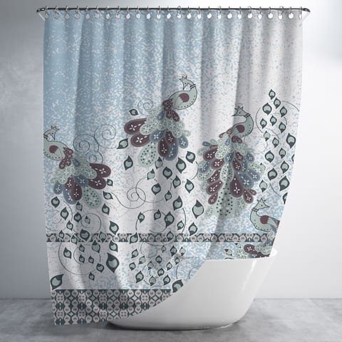 Peacock Paintiing Luxury Shower Curtain by Amrita Sen