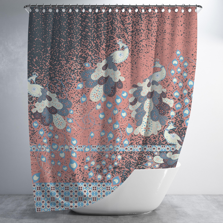 Peacock Paintiing Luxury Shower Curtain By Amrita Sen