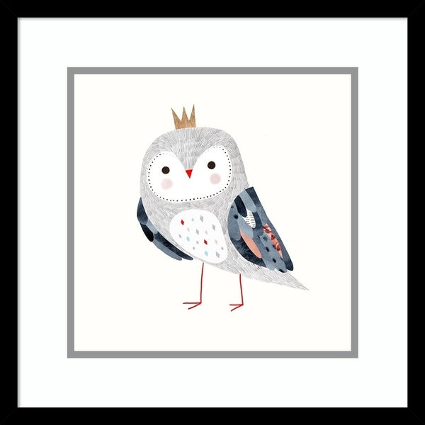 Framed Art Print 'Crowned Critter II Owl' by Victoria Borges