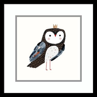 Framed Art Print 'Crowned Critter I Owl' by Victoria Borges