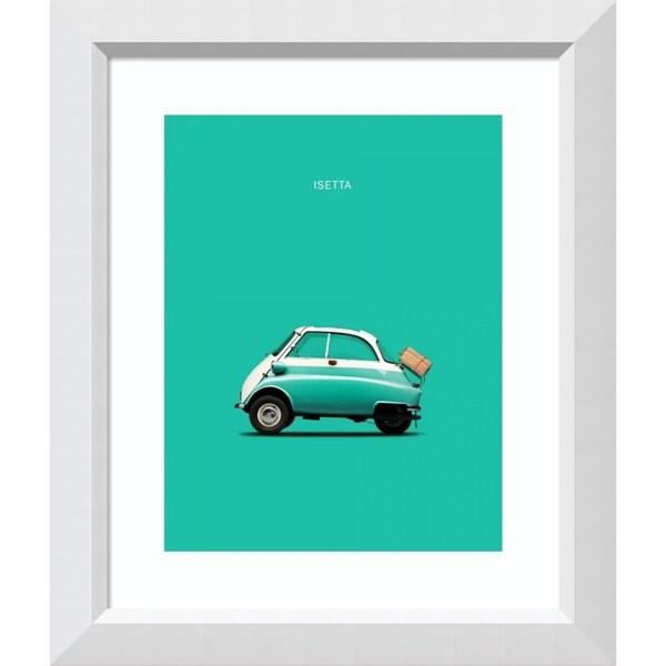 Framed Art Print 'BMW Isetta 300 Teal' by Mark Rogan