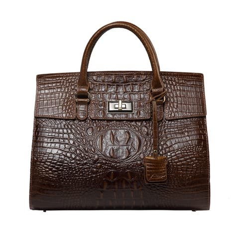 Alexxy Croc Embossed Leather Top Tote