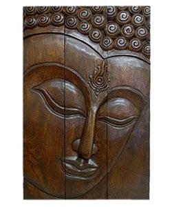 Handmade Full Size Acacia Wood Three-Panel Buddha Face (Thailand)