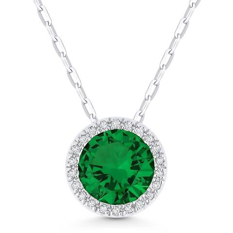 14k White Gold Pendant-Necklace with 1.68-ct Round Created Green Emerald and 0.05-ct White Diamonds
