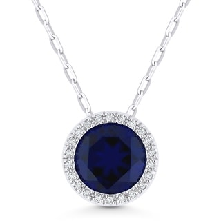14k White Gold Pendant Necklace With 1 75 Ct Round Blue Sapphire And 0 05 Ct White Diamonds