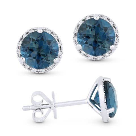 14k White Gold Stud Earrings with 2.02-ct Round Blue Topaz and 0.07-ct White Diamonds