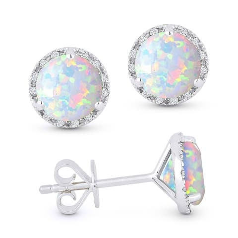 14k White Gold Stud Earrings with 1.04-ct Round White Opal and 0.07-ct White Diamonds