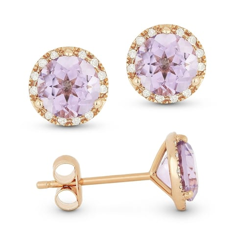 14k Rose Gold Stud Earrings with 1.52-ct Round Pink Amethyst and 0.07-ct White Diamonds