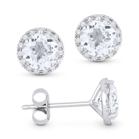 14k White Gold Stud Earrings with 1.95-ct Round White Topaz and 0.07-ct White Diamonds