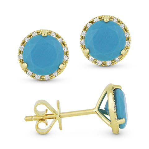 14k Yellow Gold Stud Earrings with 0.91-ct Round Blue Turquoise and 0.07-ct White Diamonds