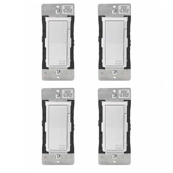 Leviton Decora Smart Wi-Fi 600W LED/Incandescent 300W Dimmer (4 Pack) - N/A