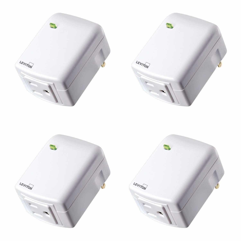 Leviton DZPA1-2BW Decora Smart Plug-in Outlet w/ Z-Wave Plus Tech(4pk) - N/A