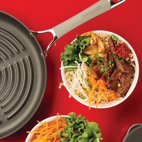 "Circulon Elementum Nonstick Deep Round Grill Pan, 11"", Oyster Grey"