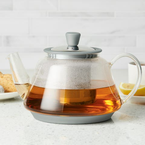 BonJour Tea Voyager Glass Teapot with Stainless Steel Infuser, 30oz