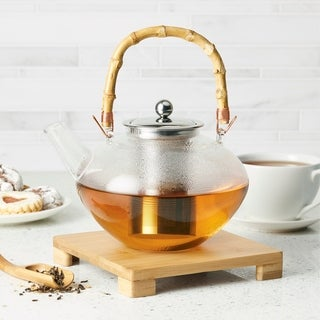 BonJour Teapot with Stainless Steel Infuser and Bamboo Trivet, 34oz