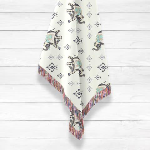 MughalElephant Woven Luxury Cotton Woven Throw by Amrita Sen