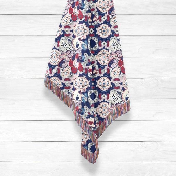 Peacock with Squares Woven Luxury Cotton Woven Throw by Amrita Sen