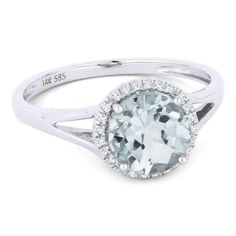 14k White Gold Ring with 1.24-ct Round Aquamarine and 0.05-ct White Diamonds