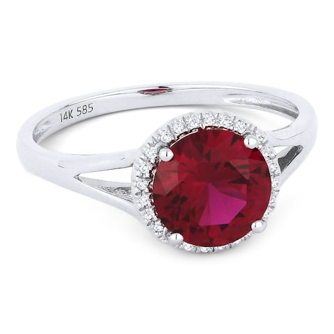 14k White Gold Ring with 1.56-ct Round Created Ruby and 0.05-ct White Diamonds
