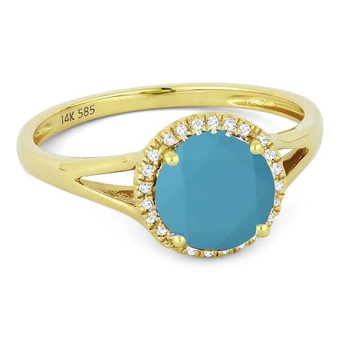 14k Yellow Gold Ring with 0.94-ct Round Turquoise and 0.05-ct White Diamonds